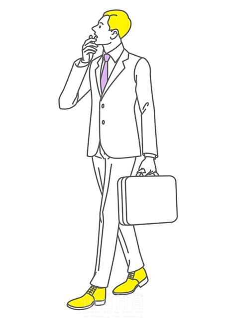 イラスト&写真のストックフォトwaha(ワーハ) 人、人々、人物、男性、ビジネス、ビジネスマン、サラリーマン、スーツ、会社員、働く人、見る、考える、歩く、驚く 椋野 純一 19-2150b