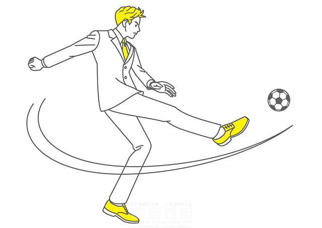 イラスト&写真のストックフォトwaha(ワーハ) 人、人々、人物、男性、男の子、中学生、高校生、学生、制服、元気、サッカー、スポーツ、蹴る、シュート 椋野 純一 19-2152b
