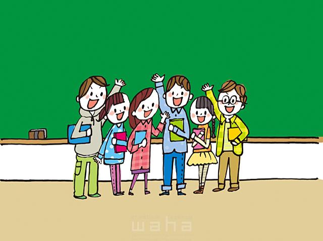 イラスト&写真のストックフォトwaha(ワーハ) 人、人々、人物、男性、女性、男の子、女の子、中学生、元気、黒板、学校、学習、メッセージボード、フリースペース、集合 きつ まき 19-2158b