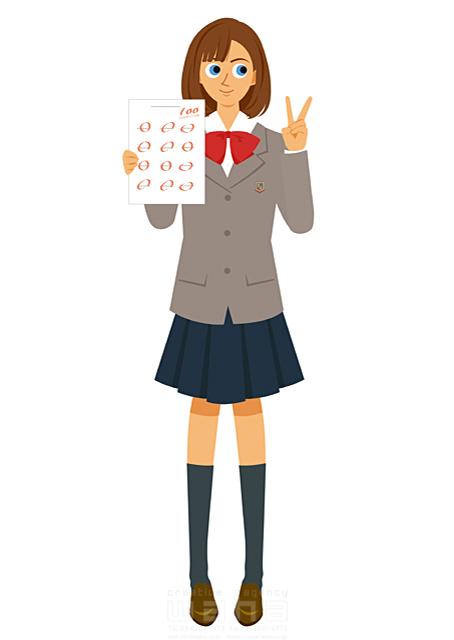イラスト&写真のストックフォトwaha(ワーハ) 人、人々、人物、女性、女の子、中学生、高校生、学生、女子高生、ピースサイン、制服、テスト、100点満点 両口 実加 19-2159b
