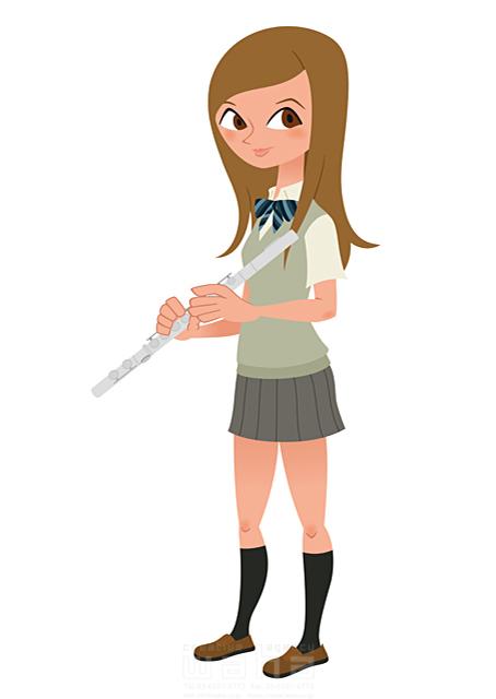 イラスト&写真のストックフォトwaha(ワーハ) 人、人々、人物、女性、女の子、高校生、学生、女子高生、制服、部活、吹奏楽、オーケストラ、音楽、フルート、楽器 両口 和史 19-2165b