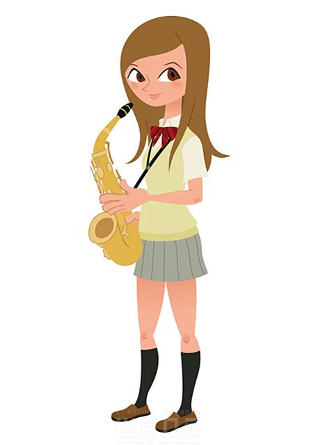 イラスト&写真のストックフォトwaha(ワーハ) 人、人々、人物、女性、女の子、高校生、学生、女子高生、制服、部活、吹奏楽、オーケストラ、音楽、サックス、楽器、ジャズ 両口 和史 19-2166b