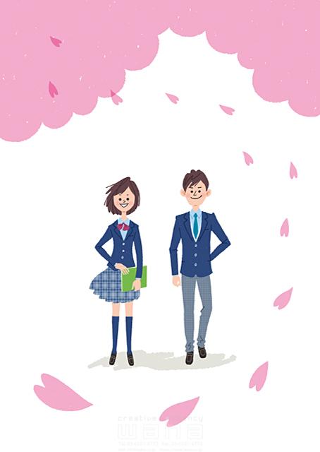 イラスト&写真のストックフォトwaha(ワーハ) 人、人物、男性、女性、高校生、女子高生、笑顔、学生、学校、制服、春、花、桜、卒業、爽やか 有栖 サチコ 19-2180b