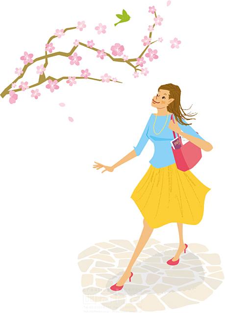イラスト&写真のストックフォトwaha(ワーハ) 人、人物、女性、若者、散歩、おでかけ、春、花、桜、季節、生活、暮らし、歩く カワムラ アキコ 19-2181c