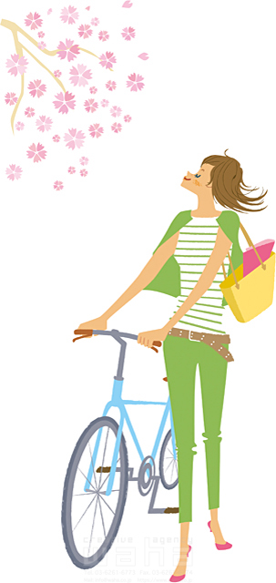 イラスト&写真のストックフォトwaha(ワーハ) 人、人物、女性、若者、おでかけ、春、花、桜、季節、生活、暮らし、自転車、サイクリング カワムラ アキコ 19-2182c