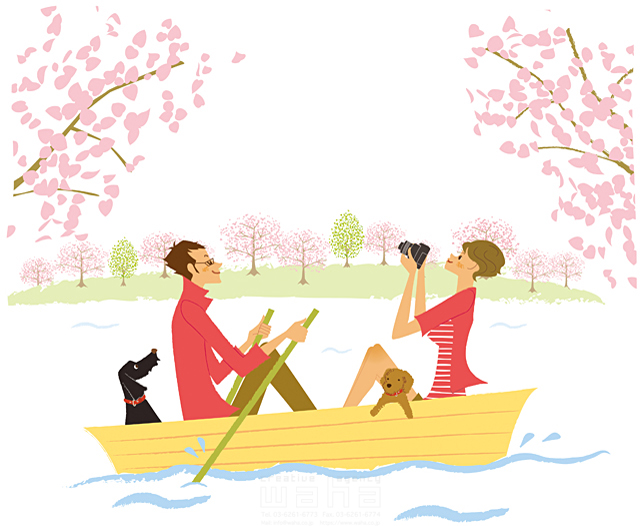 イラスト&写真のストックフォトwaha(ワーハ) 人、人物、女性、男性、夫婦、カップル、家族、犬、ペット、デート、ボート、春、花、桜、カメラ、写真、暮らし、生活 カワムラ アキコ 19-2183c