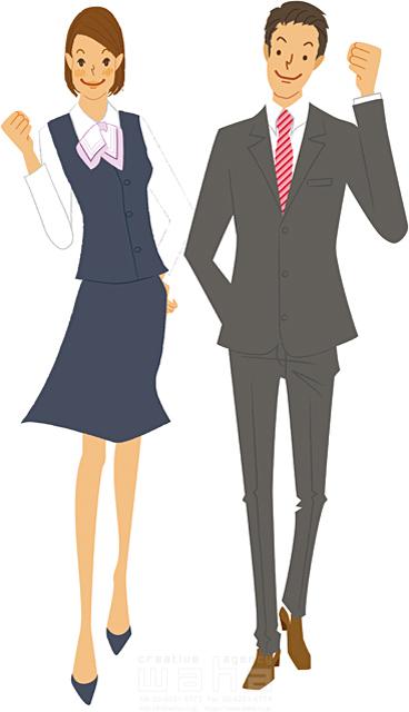 イラスト&写真のストックフォトwaha(ワーハ) 人、人物、女性、男性、大人、ビジネス、ビジネスマン、ビジネスウーマン、サラリーマン、OL、ガッツポーズ、スーツ、元気 カワムラ アキコ 19-2192b