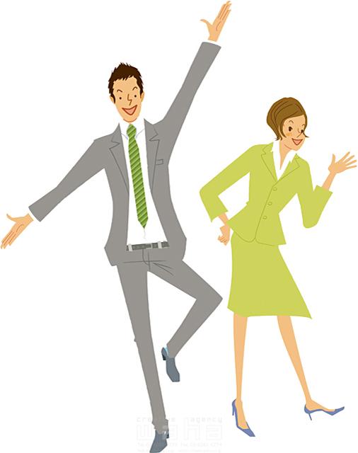イラスト&写真のストックフォトwaha(ワーハ) 人、人物、女性、男性、大人、ビジネス、ビジネスマン、ビジネスウーマン、サラリーマン、OL、コミュニケーション、挨拶、スーツ、元気 カワムラ アキコ 19-2193b