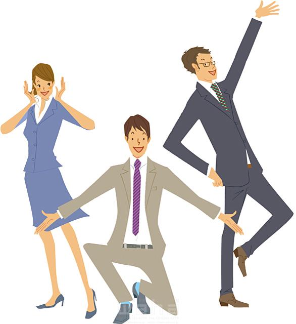 イラスト&写真のストックフォトwaha(ワーハ) 人、人物、女性、男性、大人、ビジネス、ビジネスマン、ビジネスウーマン、サラリーマン、OL、ビジネス集団、コミュニケーション、挨拶、スーツ、元気 カワムラ アキコ 19-2194c