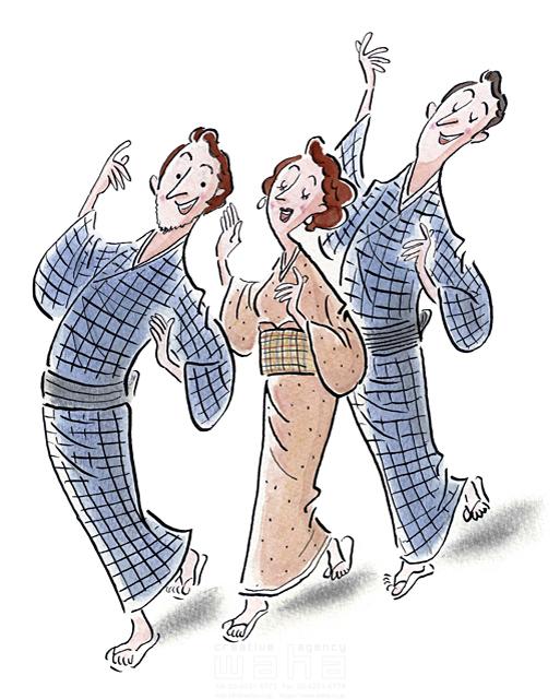 イラスト&写真のストックフォトwaha(ワーハ) 水彩、人、人物、女性、男性、日本人、外国人、浴衣、和服、盆踊り、祭り、夏 桑原 節 19-2205b