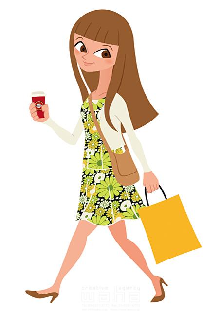 イラスト&写真のストックフォトwaha(ワーハ) 人、人物、女性、大人、若者、お出かけ、歩く、ショッピング、花、コーヒー、春、生活、暮らし 両口 和史 19-2206b