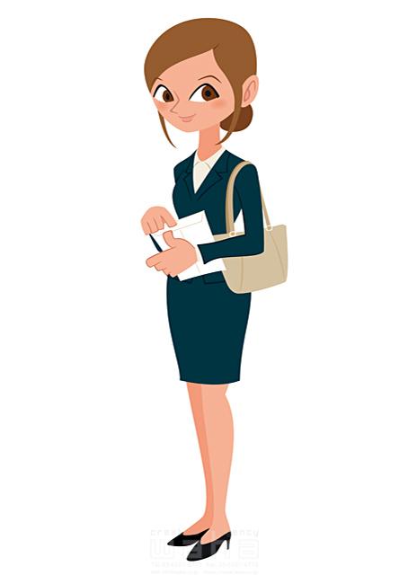 イラスト&写真のストックフォトwaha(ワーハ) 人、人物、女性、大人、ビジネス、ビジネスウーマン、キャリアウーマン、OL、スーツ、書類、秘書、バッグ 両口 和史 19-2209b