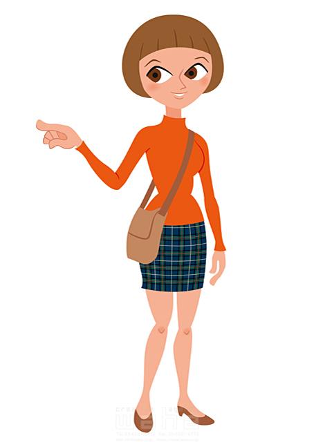 イラスト&写真のストックフォトwaha(ワーハ) 人、人物、女性、大人、日本人、若者、道案内、案内、会話、コミュニケーション、指をさす 両口 和史 19-2214b