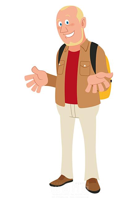 イラスト&写真のストックフォトwaha(ワーハ) 人、人物、男性、大人、外国人、観光客、バックパッカー、中高年、旅行、会話、英会話、コミュニケーション 両口 和史 19-2216b