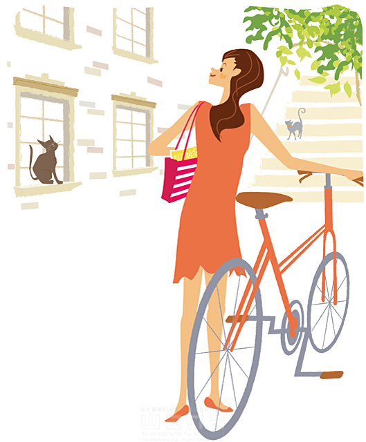 イラスト&写真のストックフォトwaha(ワーハ) 人、人物、女性、若者、おでかけ、春、新緑、生活、暮らし、自転車、サイクリング カワムラ アキコ 19-2220c
