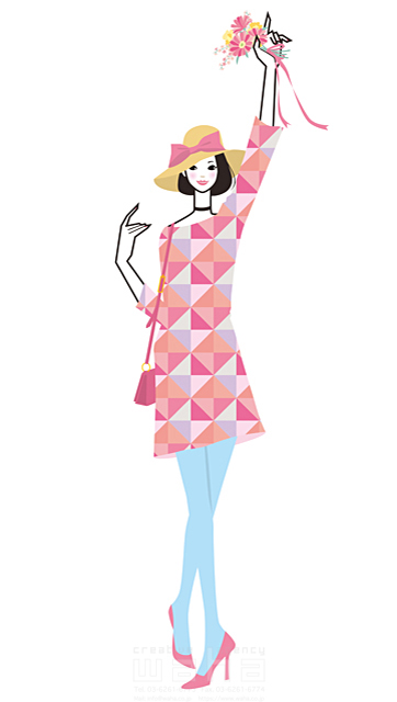 イラスト&写真のストックフォトwaha(ワーハ) 人、人物、女性、若者、20代、30代、おしゃれ、ワンピース、ファッション、お出かけ、歩く、花束、ブーケ、帽子、春、屋外 小倉 あん 19-2231b