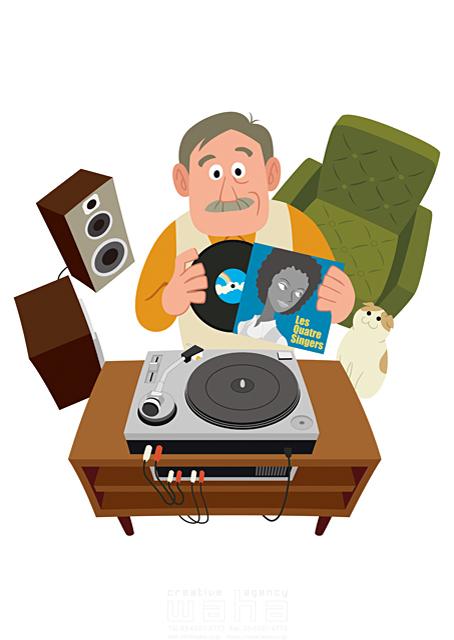 イラスト&写真のストックフォトwaha(ワーハ) 人、人物、男性、大人、中高年、シニア、おじさん、趣味、レコード、音楽、部屋、憩い、安らぎ、リラックス、休日 両口 和史 19-2243c