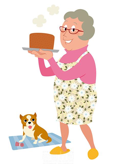 イラスト&写真のストックフォトwaha(ワーハ) 人、人物、女性、大人、主婦、婦人、シニア、中高年、趣味、安らぎ、憩い、料理、お菓子、ケーキ、犬、ペット 両口 和史 19-2246b