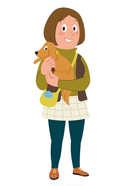 イラスト&写真のストックフォトwaha(ワーハ) 人、人物、女性、大人、主婦、婦人、散歩、屋外、会話、コミュニケーション、犬、ペット 両口 和史 19-2247b
