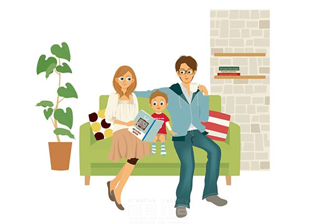 イラスト&写真のストックフォトwaha(ワーハ) 人、人物、女性、男性、家族、親子、大人、子供、お父さん、父親、母親、男の子、小学生、本、読書、リビング、部屋、リラックス、憩い、安らぎ、団欒、インテリア、生活、暮らし 両口 実加 19-2250c