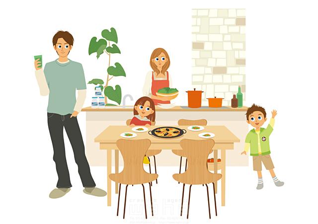 イラスト&写真のストックフォトwaha(ワーハ) 人、人物、女性、男性、家族、親子、大人、子供、お父さん、父親、母親、男の子、女の子、小学生、本、ダイニング、キッチン、部屋、リラックス、憩い、安らぎ、団欒、インテリア、料理、食事、生活、暮らし 両口 実加 19-2251c