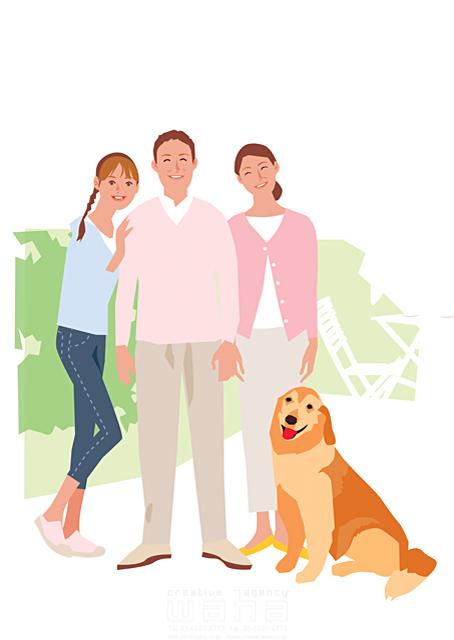 イラスト&写真のストックフォトwaha(ワーハ) 人、人物、大人、お父さん、父親、お母さん、母親、親子、家族、娘、テラス、庭、犬、ペット、記念撮影、生活、暮らし 都筑 みなみ 19-2253c
