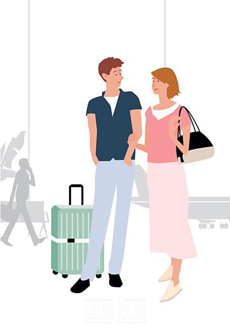 イラスト&写真のストックフォトwaha(ワーハ) 人、人物、女性、男性、大人、若者、家族、夫婦、カップル、旅行、空港、生活、暮らし 都筑 みなみ 19-2255c