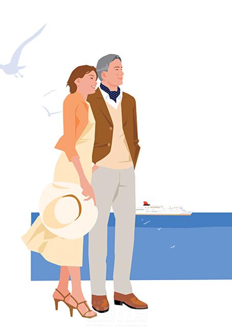 イラスト&写真のストックフォトwaha(ワーハ) 人、人物、女性、男性、家族、大人、夫婦、カップル、中高年、海、海岸、デート、風、生活、暮らし 都筑 みなみ 19-2256c