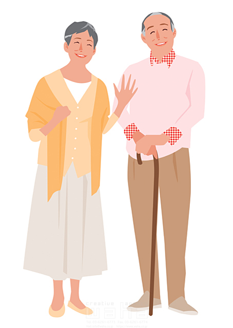 人 人物 大人 女性 男性 家族 夫婦 中高年 シニア 記念撮影 杖 おじいさん おばあさん 生活 暮らし イラスト作品紹介 イラスト 写真のストックフォトwaha ワーハ カンプデータは無料