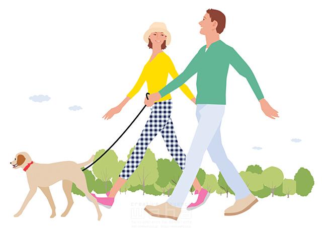 イラスト&写真のストックフォトwaha(ワーハ) 人、人物、大人、女性、男性、家族、夫婦、カップル、若者、散歩、屋外、街、犬、ペット、公園、お出かけ、生活、暮らし 都筑 みなみ 19-2261c