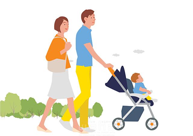 イラスト&写真のストックフォトwaha(ワーハ) 人、人物、大人、女性、男性、親子、家族、夫婦、若者、子供、赤ちゃん、散歩、屋外、街、憩い、安らぎ、ベビーカー、お出かけ、生活、暮らし 都筑 みなみ 19-2262c