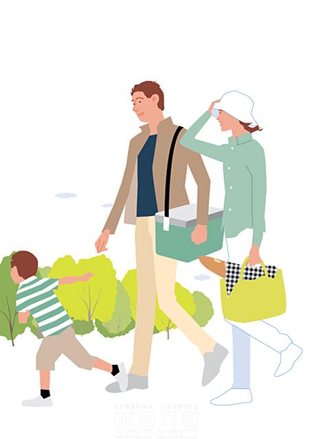 イラスト&写真のストックフォトwaha(ワーハ) 人、人物、大人、女性、男性、親子、家族、夫婦、若者、子供、男の子、小学生、散歩、屋外、街、憩い、安らぎ、お出かけ、ピクニック、公園、生活、暮らし 都筑 みなみ 19-2264c