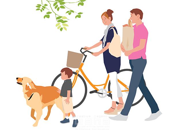 イラスト&写真のストックフォトwaha(ワーハ) 人、人物、大人、女性、男性、親子、家族、夫婦、若者、子供、男の子、小学生、散歩、屋外、街、買い物、犬、ペット、お出かけ、自転車、生活、暮らし 都筑 みなみ 19-2266c