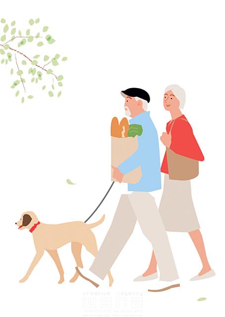 イラスト&写真のストックフォトwaha(ワーハ) 人、人物、大人、女性、男性、家族、夫婦、中高年、シニア、散歩、屋外、街、買い物、犬、ペット、お出かけ、生活、暮らし 都筑 みなみ 19-2267b