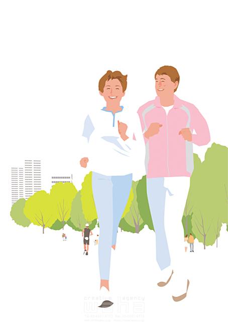 イラスト&写真のストックフォトwaha(ワーハ) 人、人物、大人、女性、男性、家族、夫婦、中高年、散歩、屋外、街、公園、お出かけ、ランニング、ジョギング、スポーツ、運動、生活、暮らし 都筑 みなみ 19-2268c