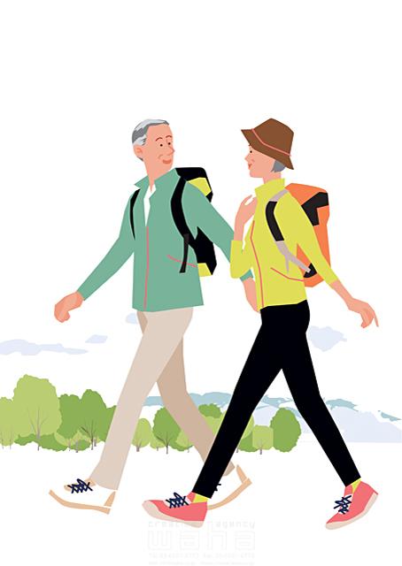 イラスト&写真のストックフォトwaha(ワーハ) 人、人物、大人、女性、男性、家族、夫婦、中高年、シニア、散歩、屋外、お出かけ、ハイキング、歩く、山登り、トレッキング、運動、生活、暮らし 都筑 みなみ 19-2269c