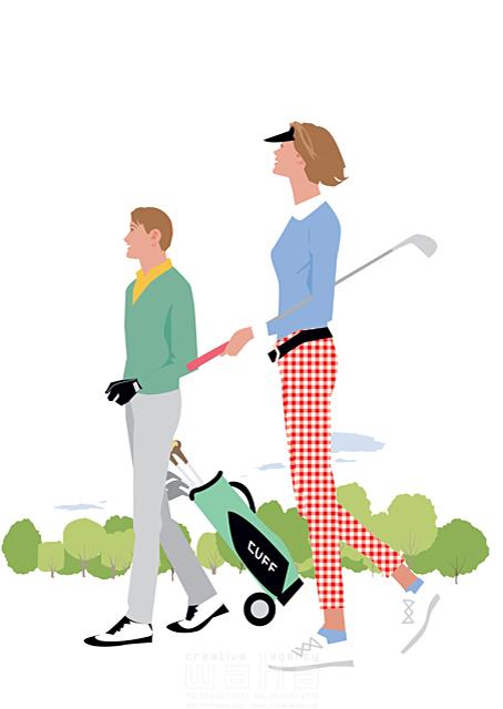 イラスト&写真のストックフォトwaha(ワーハ) 人、人物、大人、女性、男性、家族、夫婦、カップル、中高年、散歩、屋外、ゴルフ、スポーツ、運動、カントリークラブ、生活、暮らし 都筑 みなみ 19-2270c