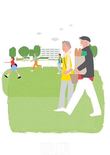 イラスト&写真のストックフォトwaha(ワーハ) 人、人物、大人、女性、男性、家族、夫婦、中高年、シニア、散歩、屋外、街、買い物、お出かけ、公園、芝生、生活、暮らし 都筑 みなみ 19-2271c