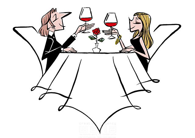 イラスト&写真のストックフォトwaha(ワーハ) 人、人物、大人、女性、男性、大人、カップル、夫婦、デート、食事、レストラン、ディナー、乾杯、ワイン、お酒 徳光 和司 19-2272b