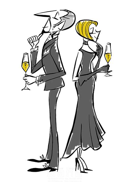 イラスト&写真のストックフォトwaha(ワーハ) 人、人物、大人、女性、男性、大人、カップル、夫婦、デート、食事、レストラン、ディナー、乾杯、ワイン、お酒 徳光 和司 19-2273b