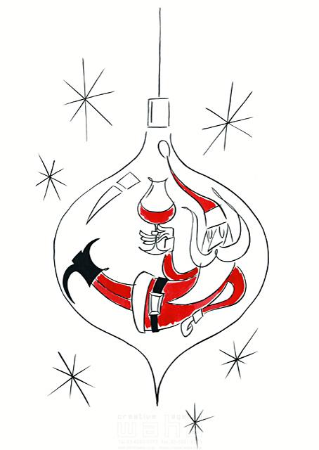 イラスト&写真のストックフォトwaha(ワーハ) 人、人物、男性、大人、シニア、サンタクロース、クリスマス、飾り、オーナメント、ワイン、冬 徳光 和司 19-2278b