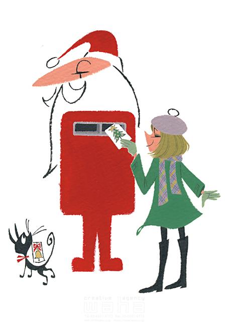 イラスト&写真のストックフォトwaha(ワーハ) 人、人物、女性、若者、女の子、男性、大人、シニア、サンタクロース、クリスマス、冬、猫、手紙、挨拶、ポスト 徳光 和司 19-2279b