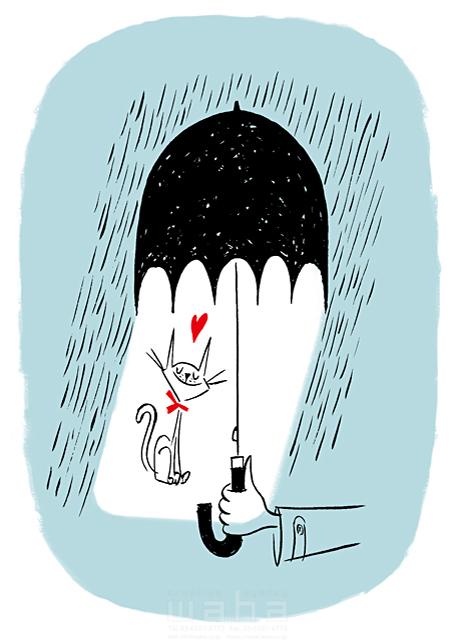 イラスト&写真のストックフォトwaha(ワーハ) 人、人物、手、雨、傘、猫、愛、愛情、ハート、優しい 徳光 和司 19-2281b