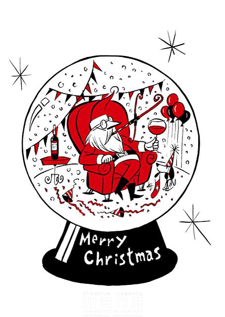 イラスト&写真のストックフォトwaha(ワーハ) 人、人物、男性、大人、シニア、サンタクロース、クリスマス、飾り、オーナメント、冬、スノーグローブ、置物、パーティー、楽しい 徳光 和司 19-2287b