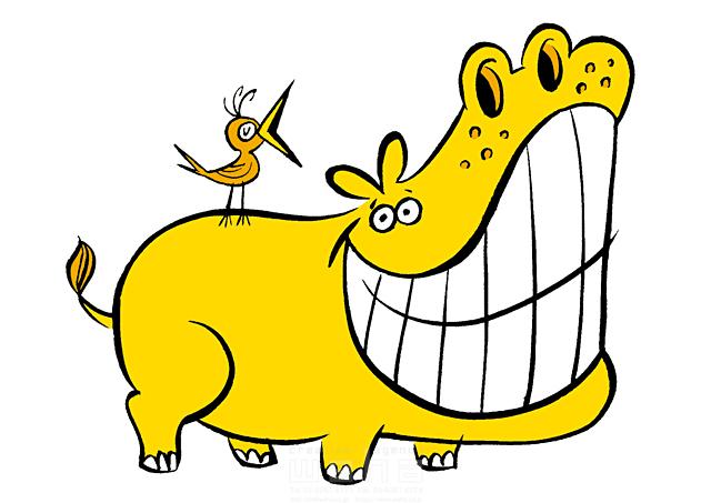 イラスト&写真のストックフォトwaha(ワーハ) 動物、カバ、鳥、黄色、面白い、カートゥーン、マンガ、キャラクター 徳光 和司 19-2290b