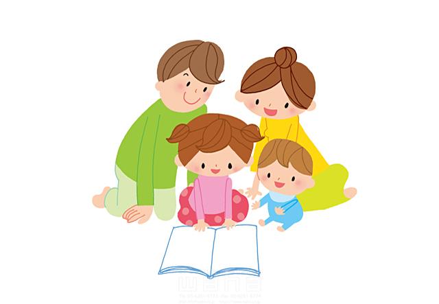 イラスト&写真のストックフォトwaha(ワーハ) 人、人々、男性、女性、父、母、子供、家族、親子、男の子、女の子、赤ちゃん、団欒、コミュニケーション、本、読書、愛情、安らぎ、憩い きつ まき 19-2294b