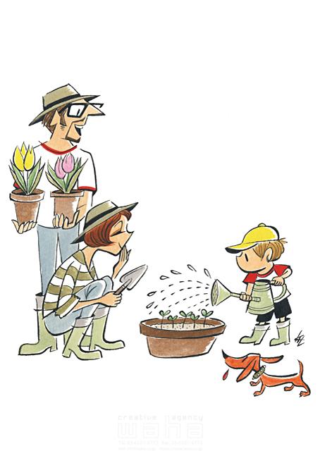 イラスト&写真のストックフォトwaha(ワーハ) 人、人々、男性、女性、父、母、子供、家族、親子、男の子、団欒、コミュニケーション、犬、ペット、庭、植物、花、ガーデニング 徳光 和司 19-2295b