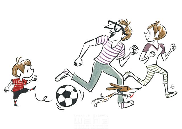 イラスト&写真のストックフォトwaha(ワーハ) 人、人々、男性、女性、父、母、子供、家族、親子、男の子、団欒、コミュニケーション、犬、ペット、庭、サッカー、スポーツ、遊ぶ、走る 徳光 和司 19-2296b