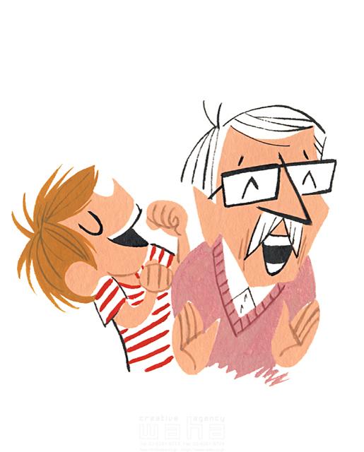 イラスト&写真のストックフォトwaha(ワーハ) 人、人々、男性、おじいさん、老人、シニア、お年寄り、子供、家族、男の子、安らぎ、憩い、ほのぼの、肩たたき、楽しい、歯 徳光 和司 19-2300b