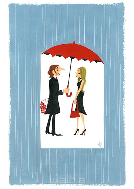 イラスト&写真のストックフォトwaha(ワーハ) 人、人々、大人、男性、女性、夫婦、カップル、花、傘、雨、ロマンチック、愛、恋愛、おしゃれ 徳光 和司 19-2303b